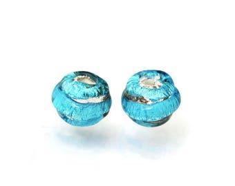 Aqua blue lampwork earring pair of beads Glass beads Made to Order Blue lampwork bead Blue Beads for earrings Anne Londez