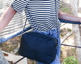 Vegan Pinatex Crossbody Bag DEIA - chain strap, black, handcrafted