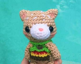 Hamburger Cat Doll - Crocheted Cat Doll - Foodie Gift - Cat Lover Gift - Cat Toy - Crochet Hamburger - Amigurumi Cat - READY TO SHIP