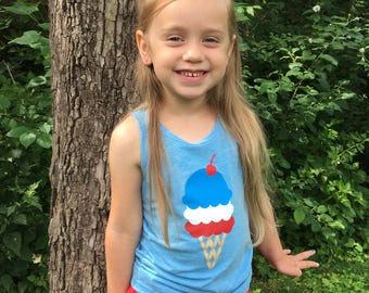 Ice Cream Cone, Toddler, Kid, 4th of July Shirt, Girl Tank Top
