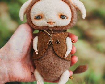 Creature fantasy. Art doll. Woodland creature. Collectible doll. Felted toy. Felt doll. Fantasy doll. Forest spirit. Wool toy. OOAK