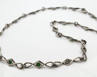 "Vintage Lara Creation Designer 23"" Necklace in Green Enamel and Sterling Silver. [11997]"
