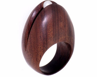 EGG Rosewood Ring, Wood Ring, Pearl Ring, One-Of-A-Kind Wood Engagement Ring, Organic Ring, Natural Ring, Wooden Ring, Mothers Day Gift