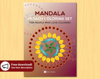 FREE Pesach Coloring Book mandala for Kids, Passover Coloring Art book 3 pages