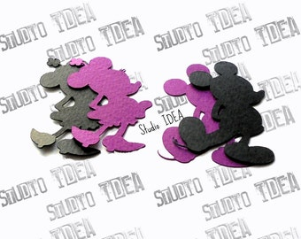 "Mickey & Minnie Silhouette 2"", 4"" Cut outs -Black-Purple or Choose Your Colors - Set of  30pcs, 60pcs"