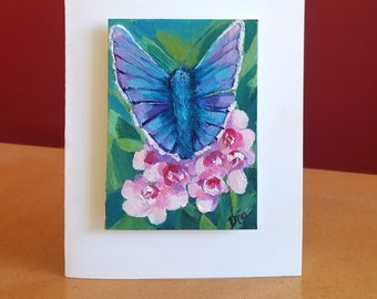 Handmade Watercolor cards, BLUE BUTTERFLY, original watercolor painting, ACEO card, watercolor painting,