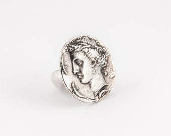 Ancient Coin Ring, Dracma of Siracusa Coin, Face Ring, Woman Ring, Silver Ring, Mediterranean Ring, Unique Ring at Fauno Design
