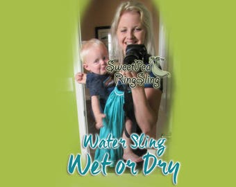 Reversible  Supportive WATER SweetPea Ring Sling  Made in the USA Turquoise Navy Blue Baby Infant Carrier Wrap Double Layered