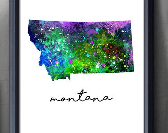 Montana State Map Watercolor Art Poster Print - Montana Treasure State Watercolor Wall Art - Watercolor Painting - Illustration - Home Decor