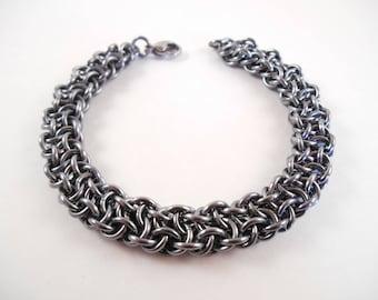 Vipera Berus Bracelet - Black Ice Anodized Aluminum Vipera Berus Chain Maille Bracelet