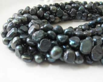Teal Pearls, Freshwater Pearl Nuggets, Teal Green Pearls, Teal Blue Pearls, Nugget Pearls, Real Pearls, 7mm - 8mm- Full Strand