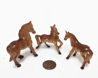 Set of Three Miniature Plastic Horses - Vintage Toy Figurines