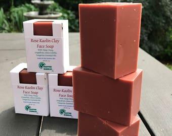 Rose Kaolin Clay Face Soap / 100% Natural Soap/ Cold Process Soap