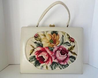 Vintage Ivory Leather Handbag|Vintage Floral Petit Point Handbag|Floral Tapestry Needlepoint Top Handle Bag|Vintage Oversize Leather Handbag