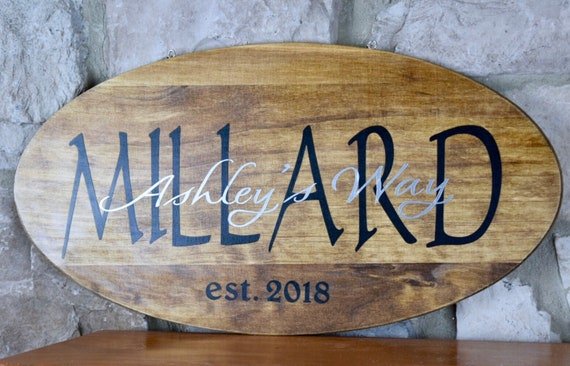 Surname Street Year Wood Plaque with Chain; Welcome Door Decor; Wood Welcome Decor; Last Name Sign Decor; Customized Housewarming Decor Gift