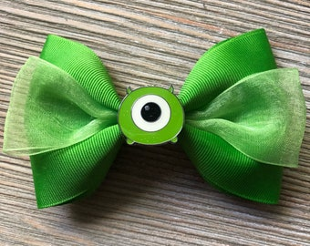 Green Mike Wasowski Monsters Inc Inspired Stacked Simple Bow with Metal Bow Center 4.5 inches Alligator Clip