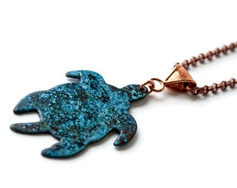 Turquoise Sea Turtle Necklace, Copper and Patina Jewelry, Turtle Necklace, Beach Jewelry, Sea Turtle Pendant, Large turtle necklace