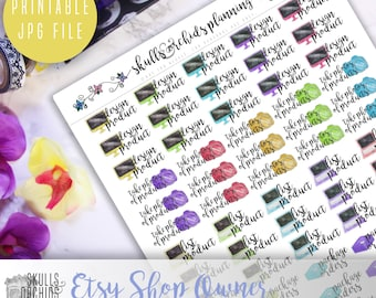 Functional Phrases for Etsy Shop Owners – PRINTABLE Planner Stickers for Erin Condren, Happy Planner, Personal-Sized Planners, etc