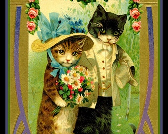 Cats Wedding Valentine Refrigerator Magnet