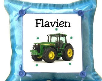 Blue cushion tractor personalized with name