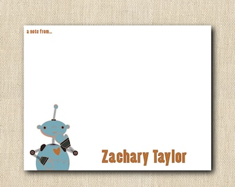 Children's Personalized Stationery - Robot - 12 cards
