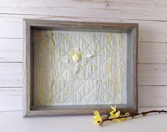 Framed quilt square, bedroom decor, yellow and gray textile art, 1940's quilt, rustic shadowbox, repurposed quilt, rustic wall art
