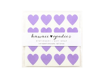 64 Pastel Purple heart stickers  - 3/4 inch mini purple hearts
