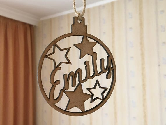 Personalized Christmas Wooden Name Bauble Custom gift Christmas Ornament Christmas tree decorations Personalised Xmas bauble Christmas Stars