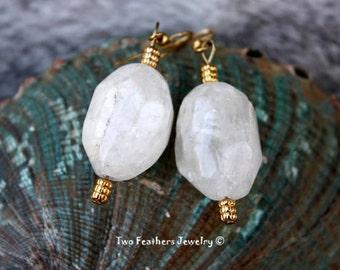 Quartz Crystal Earrings - Quartz And Gold Earrings - Statement Earrings - Power Stone Earrings - Chunky Large Quartz - Natural Stones