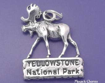 YELLOWSTONE National Park Moose Charm .925 Sterling Silver Pendant - lp1670