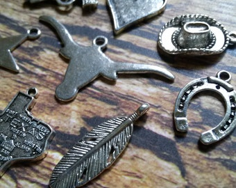 Assorted Charms Pendants Texas Charms Western Charms Pendants Antiqued Silver 8 pieces