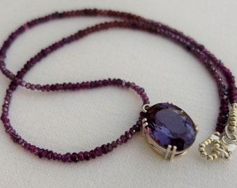 Gem necklace, garnet & alexandrite, sterling silver, fine jewelry, unique design, artisan quality, statement