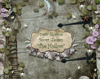 The Hollow  -   Digital Scrapbooking Kit, 17 Papers, Over 70 Elements, Secret Garden Alpha - 4.50