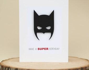 Superhero Birthday card,funny birthday card,birthday card for friends,modern birthday card,black and white birthday card,3D handmade card