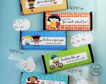5 Teacher Appreciation Candy Bar Wraps /End of Year / Teacher Appreciation Gift Ideas / Hershey Chocolate Bar Wraps / Thanks Teacher