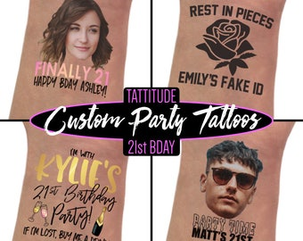 21st birthday party decorations tattoos, finally 21, twenty one, finally legal, 21st birthday gift for her, for him, birthday tattoos, rip