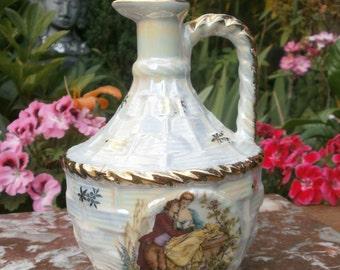 Vintage french Decanter in porcelain of France luxury pearly - Pearly luxury porcelain liquor decanter Vintage