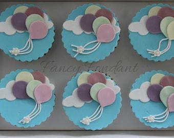 Edible Fondant Balloon Cupcake Decorations Toppers