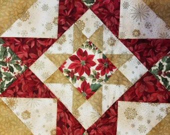 Large Table runner with Poinsettia's and embroidered Holly