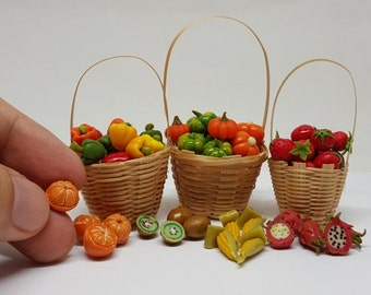 Fruits & Vegetables Handmade Clay Mixed Set of Dollhouse Miniatures