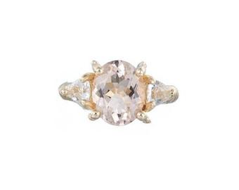 Solid Gold One In A Trillion Morganite & Diamond Ring