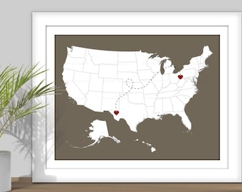 State Map Art - State to State USA Map Art - PRINTABLE. Custom Colors, Digital. Heart over Cities.