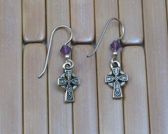 Gold Celtic Cross Earrings with Purple Crystal on Gold Filled Ear Wires, Celtic Jewelry, Celtic Cross Jewelry, Gold Cross Earrings