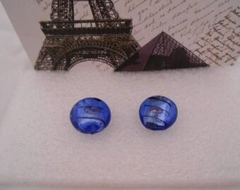 Set of 2 round disc pendant 2 cm x 8 mm blue glass beads