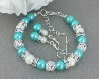 Aqua and Ivory Bracelet Bridesmaid Bracelet Maid of Honor Bracelet Junior Bridesmaid Destination Wedding Prom Beaded Bracelet