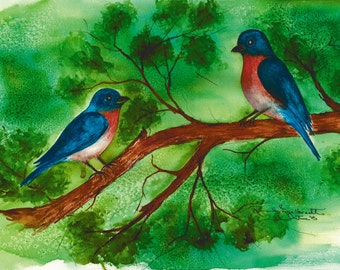 Bluebirds.    Set of 8 Note Cards and Framed Wall Art. Reproductions of original watercolor paintings. Bluebirds in tree.  Two bluebirds.