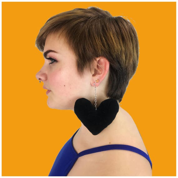 Black Heart Plush Earrings - Handmade Giant Statement Dangle Earrings Funky Weird Costume Jewelry - Black Goth Kawaii Black Heart Jewelry