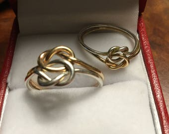 Sterling and Gold Filled Knotted Rings. Sz 6 & 8