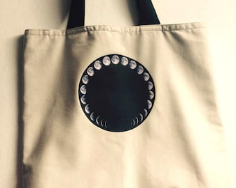 Moon Phases White Tote Bag