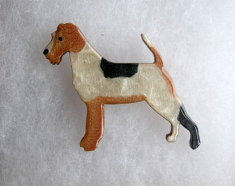 Fox Terrier Dog Brooch Boxed Gift Birthday Mothers day Brooch Pin Badge Handmade Painted Wood Pet Jewellery Jewelry